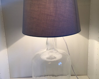 Clear glass carboy table lamp