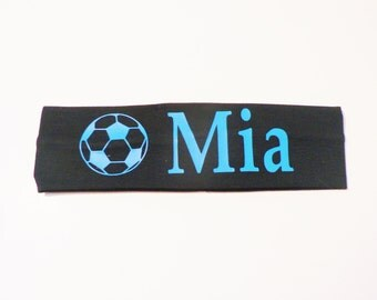Black Soccer Headband, Personalized Stretch Sports Headband, Custom Name Soccer Ball Headband, Soccer Headband, Girl Soccer Gift, Headband