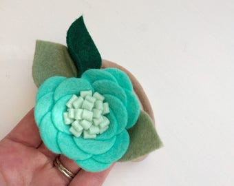 Mint blue rose blossom blossom with green leaves - alligator clip - headband