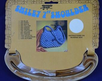 "Accento Craft Smiley 7"" Shoulder Purse Handle Tortoise Colored Retro Vintage"