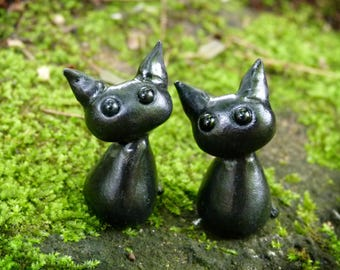 Polymer Clay Black Cat, Fairy Cat, Witch's Cat, Miniature Kitty