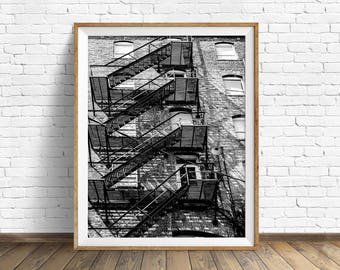 "black and white photography, large art, printable art, instant download printable art, digital download, industrial art -""Fire Escape No. 2"""