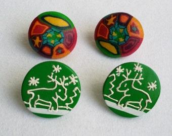 Vintage Silver Tone Stud Earrings Set of Two. Multicolored Epoxy Earrings, Green Plastic Earrings. Christmas Deer Antler Earrings.