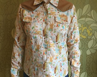 Hand-made country western shirt with Hansel and Gretel motif fabric