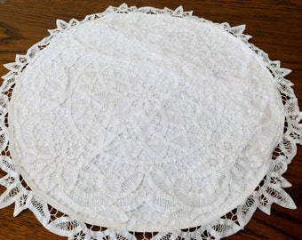 white vintage battenburg lace and linen round pillow case or cushion cover white round cotton lace cushion cover rbt1156
