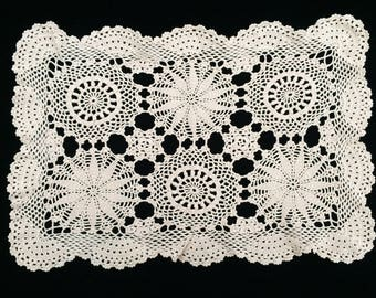 Crocheted Doily. Vintage Crocheted Lace Placemat, Oblong Lace Doily. Large Ecru/Beige Lace Doily or Placemat RBT1649