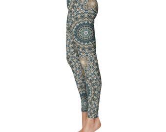 Abstract Nature Pattern Leggings - Brown and Green Mandala Yoga Leggings, Womens Leggings