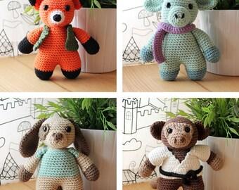 Animals: Fox, Dragon, Dog & Monkey. Nursery Toys, Zoo Dolls, Amigurumi Pattern PDF, DIY Crafts, Crochet Art, Children Gift, Instant download