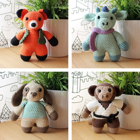 Animals: Fox, Dragon, Dog & Monkey. Amigurumi Pattern PDF.