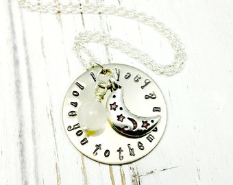 Personalized, To  the  Moon And Back, Silver, Necklace,