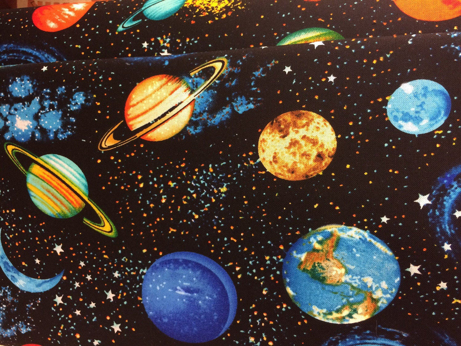 Planets outer space solar system fabric galaxy fabric for Space themed fabric