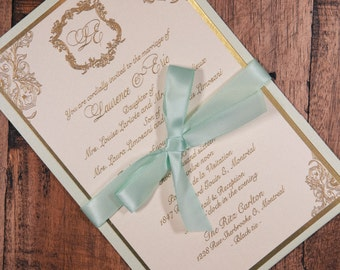 Mint and Gold Wedding Invitation, Mint and Gold Invitation, Mint and Gold Wedding Invitations, New Years Eve Wedding Invitation, Invitation
