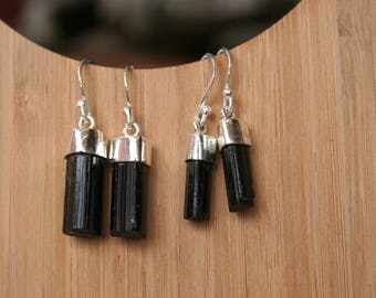 Black Tourmaline Crystal Point Earrings, Raw Crystal Earrings, Schorl