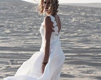 Low back lace wedding dress with silk skirt • Isobel Gown • Beach wedding dress • Bohemian lace dress • Boho wedding dress