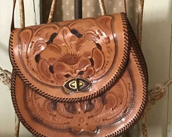 Vintage 1960's  Leather Handtooled Purse Handbag Bohemian Hippie Gypsy  Hobo Never Used # 252
