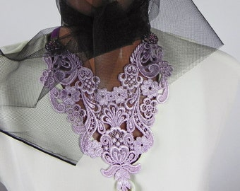 Large Pale Pink Lace Necklace on ribbon, Pastel Flower Lace fabric Necklace, Textile jewelry, Wedding Necklace, Victorian Style, Gift Her