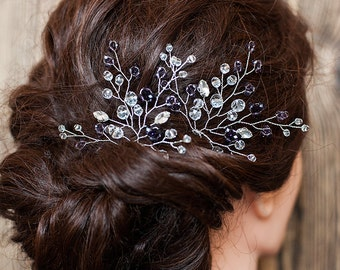 Amethyst Beaded Bridal Hair Pin Silver Wedding Hairpiece Prom Hairpin Purple Hair Accessory Violet Crystal Hair Pin Bridesmaid Headpiece Set