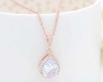 Rose Gold Cubic Zirconia Bridal Necklace Pink Gold Bridal Necklace CZ Teardrop Bridal Necklace Rose Gold Bridal Jewelry, bijoux mariage
