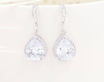 Silver Cubic Zirconia Teardrop Bridal Earrings, Crystal Teardrop Bridal Earrings, Cubic Zirconia Bridal Jewelry, silver bridal jewelry