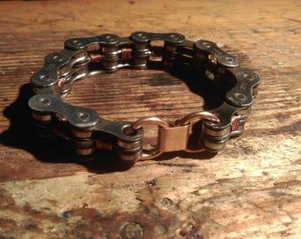 Bracelet bikechain recycled steampunk copper