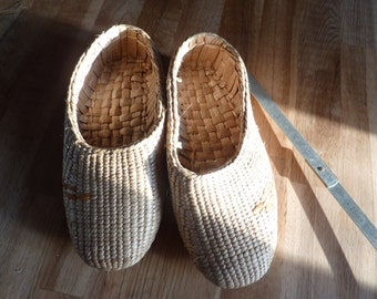 pair of shoes slippers in straw braided handmade T 39 water hyacinth french