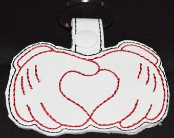Mickey heart hands keyfob keychain zipper pull bag tag Disney Gift Mickey Mouse