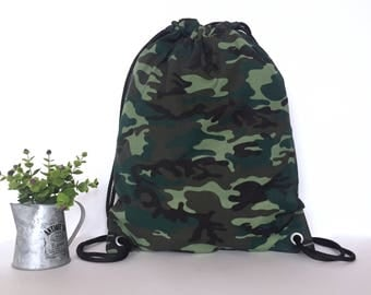 Camouflage drawstring backpack, Camouflage canvas backpack, Camouflage canvas drawstring, Hipster backpack, School backpack, Gym backpack