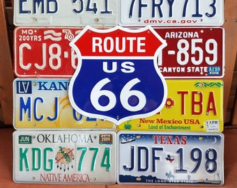 Route 66 license plate art sign