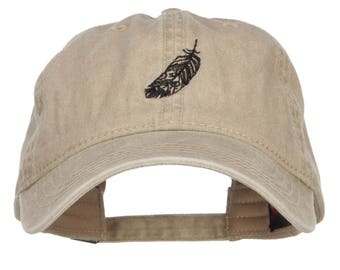 Feather Embroidered Washed Cap