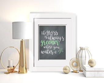 The Grass Is Always Greener Where You Water It|Framed Song Lyrics|Watercolor Print|Motivation Prints|Framed Office Decor|Unique Wedding Gift