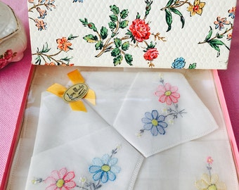 Gorgeous Set of Three Embroidered Vintage Handkerchiefs, in Original Packaging and Box