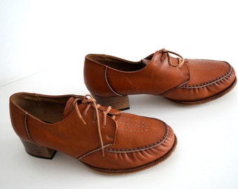 Vintage Swedish hand made leather lace loafers Brown Womens leather shoes  Swedish quality shoes pumps Genuine leather inside and outside