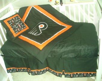 Philadelphia Flyers Custom Made 8 pc (or made bumperless or in pink) nursery baby crib bedding set NEW