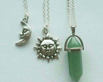 Set of 3! Sun, moon and gemstone necklace