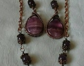 Item on sale, 25% off!Copper and fluorite and amethyst bead jewelry set, gemstone set, gift for her, Christmas gift idea, purple jewelry set