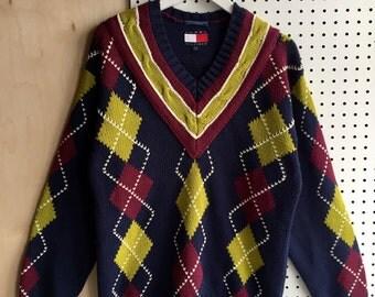 Vintage Tommy Hilfiger Preppy College Style Plaid V-Neck Heavy Knit Sweater