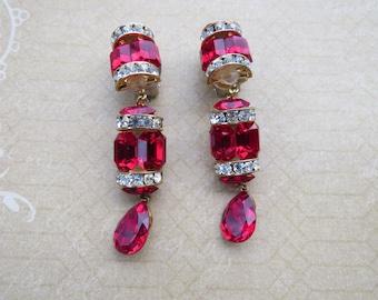 Vintage Red Glass Rhinestone Dangle Drop  Earrings