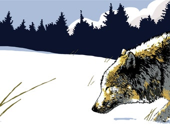 Digital art print of the wolf in the snow, image of wolf walking in snow, art print of wolf, art print of wolf in snow,