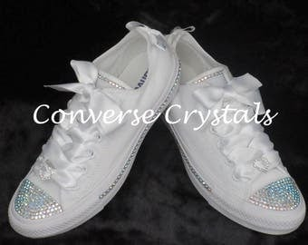Bridal Mono White Custom Crystal *Bling* Converse With Side Crystals Sizes 3-8