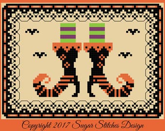 Witchy Boots Halloween Cross Stitch  PDF Digital Cross Stitch Pattern