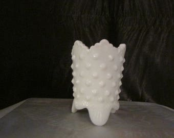 Fenton Hobnail Milk Glass Toothpick Holder