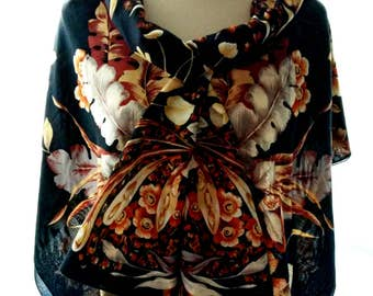 Black cotton scarf vintage multicolored Flowers pattern Italy headscarf soft  unusual spring Women Scarves huge sarongs bright wrap shawl