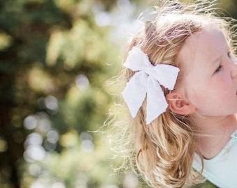 White Hair Bow   White Hair Bows, White Bow, Girls Hair Bow, Girls Hair Clip, Holiday Hair Bow, White Hair Clip, Christmas Hair Bows