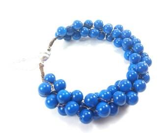 Dark Blue, Glass Bead, Vintage Coloured Wire, Kumihimo Bracelet, Braided