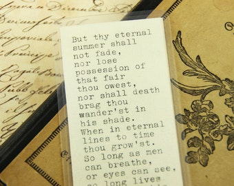 "BOOKMARK - William Shakespeare ""Sonnet End"" Quote"