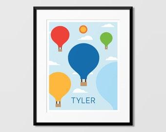 Balloons Name Art, Hot Air Ballons Art, Balloons Art Print,Nursery Art, Kids Wall Art, Childrens Art
