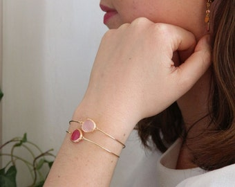 Bangle has gold 24K gold with stone set, red garnet, pink and other colors, gift mother's day, made in paris