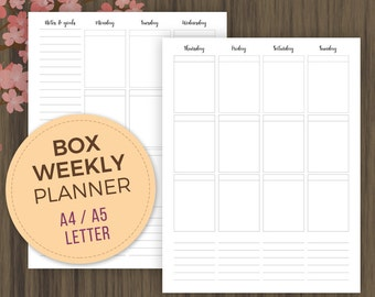 Weekly Box Planner Printable Inserts, A5 Planner Inserts, Letter Size, A4, Vertical Planner, Week on 2 Pages, wo2p, A5 Filofax,  Kikki K