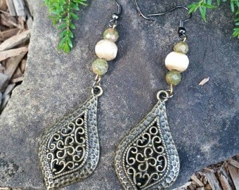 Unakite & Bone Bead Drop Earrings