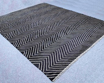 Made to order black and white/ivory kilim carpet, white/ivory and black dhurrie rug, modern black and white rug,custom made rug.